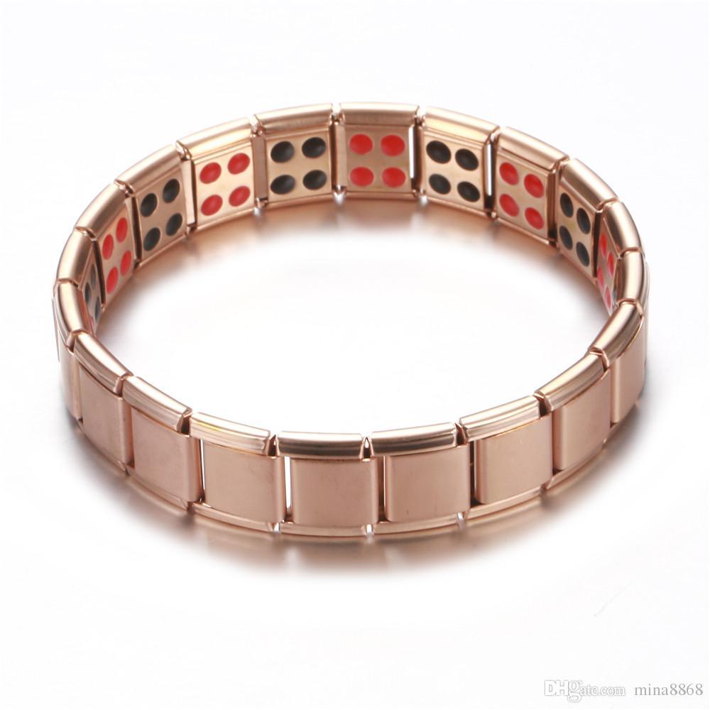 Rose gold black Double Row Magnetic Magnet bracelets Stainless Steel Elastic Bio Nagetive Ion Power Energy Health Bracelet For Men Women