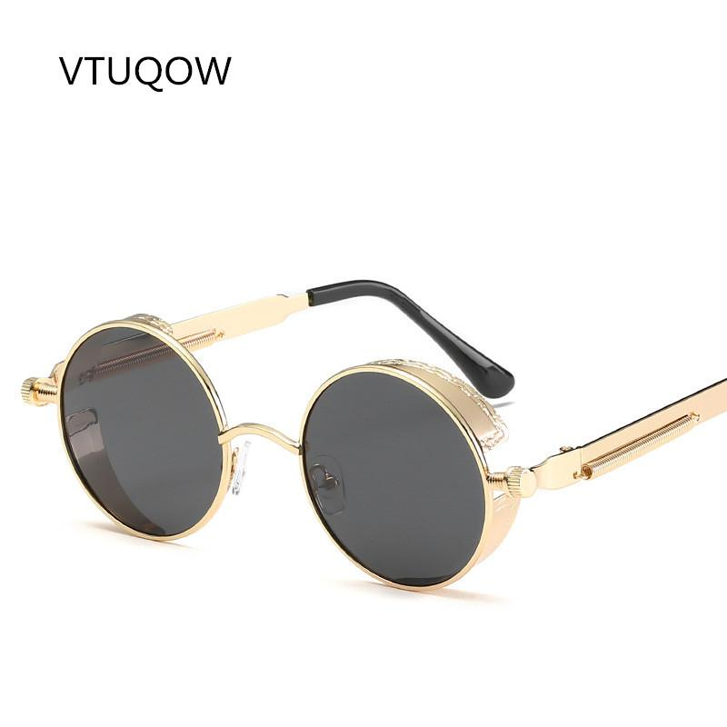 c009e8e813 Fashion Round Steampunk Sunglasses Men Women Brand Designer Retro Polarized  Mental Frame Vintage Sun Glasses For Men Male Female John Lennon Sunglasses  ...