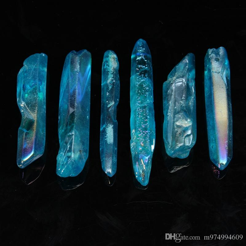 Natural aura Rough sky Blue Crystal Quartz healingwand Point Briolettes Pendant,Drilled Tusk Shape Raw Gemstone Beads Necklace