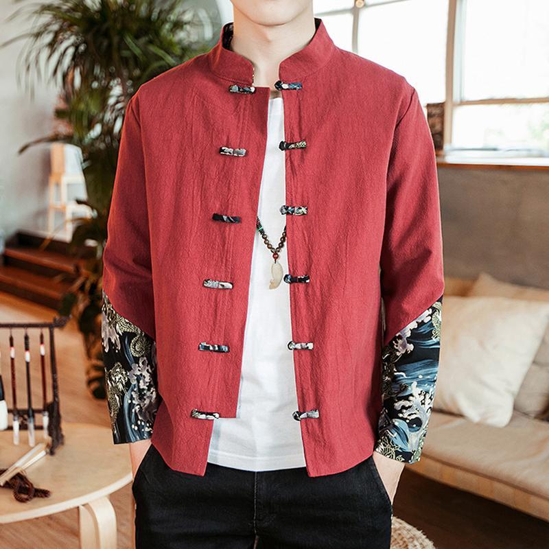 premium selection b5e6f 091da Loldeal Mens Jacket beiläufige Slim Fit Bomberjacke Männer Mode  chinesischen Stil lange Pao Print Splicing Kontrast Farbe Leinen