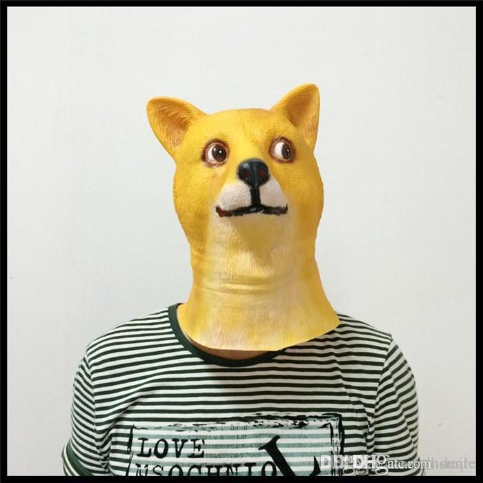 Wholesale New Hot Dog Mask Funny Halloween Cosplay Adult Latex Mask Halloween Christmas Party Carnival Mask