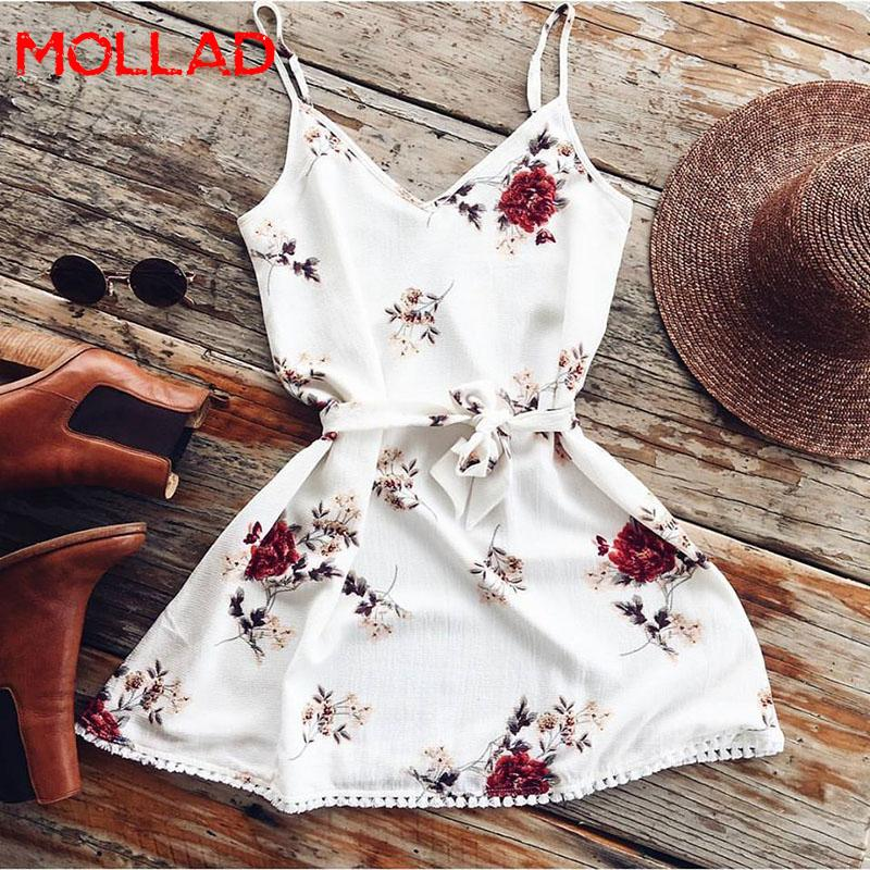 2018 Summer Spaghetti Strap Floral Dress Mujeres Sexy Beach Tank Top Sundresses Blanco Casual Elegante Mini Vestidos de fiesta MOLLAD