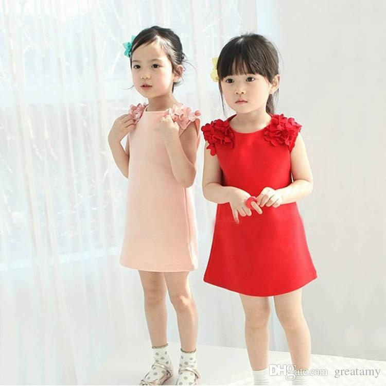 baby girls fashion summer dress kids cotton solid skirt with chiffon shoulder flower girls kids princess sweet dress