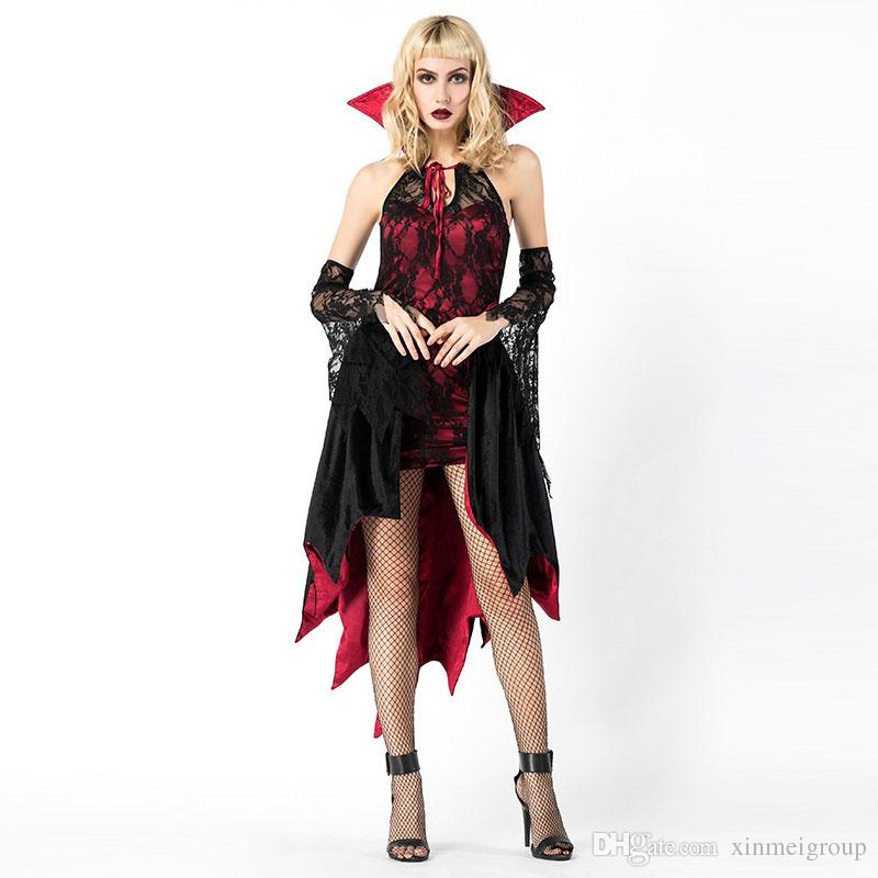 81f6b3a3058 Adult Women Halloween Red Devil Costume Vampire Sparkle Bodysuit Robe Dress  Sexy Wicca Cosplay Clothes For Girls W158855