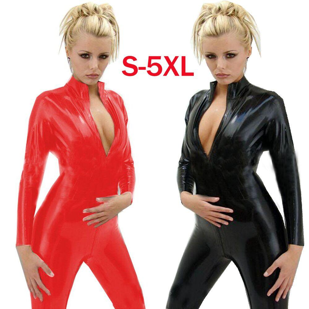 06ad1357f27c Disfraz Unisex Plus Size 5XL XL L M S Tamaño Disfraz Sexy Latex Catsuit DS  Negro Disfraz Hombres Mujeres Catsuit