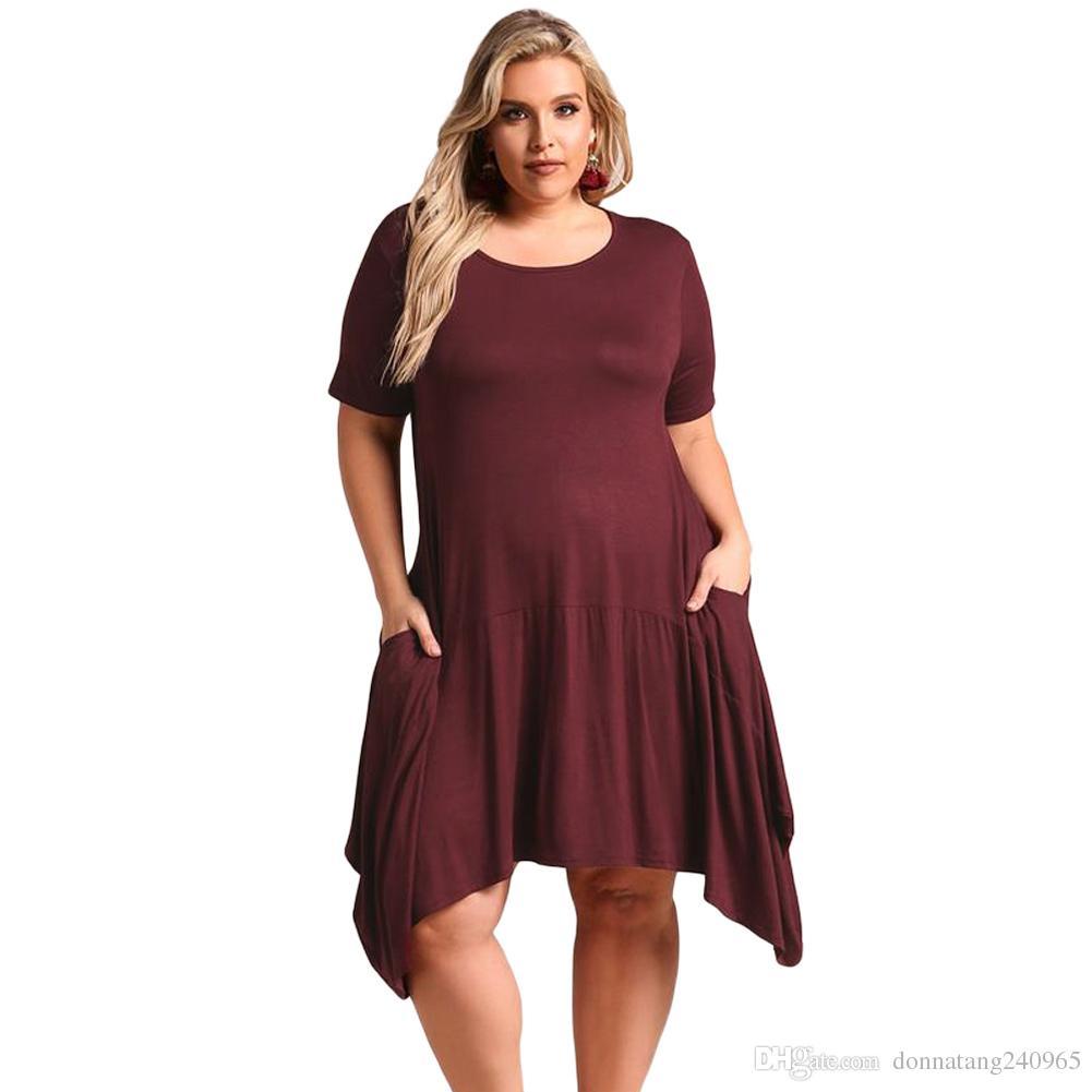 db7f70220533 2018 летние дамы свободные платья с коротким рукавом Джерси платье плюс  размер XXXL ...