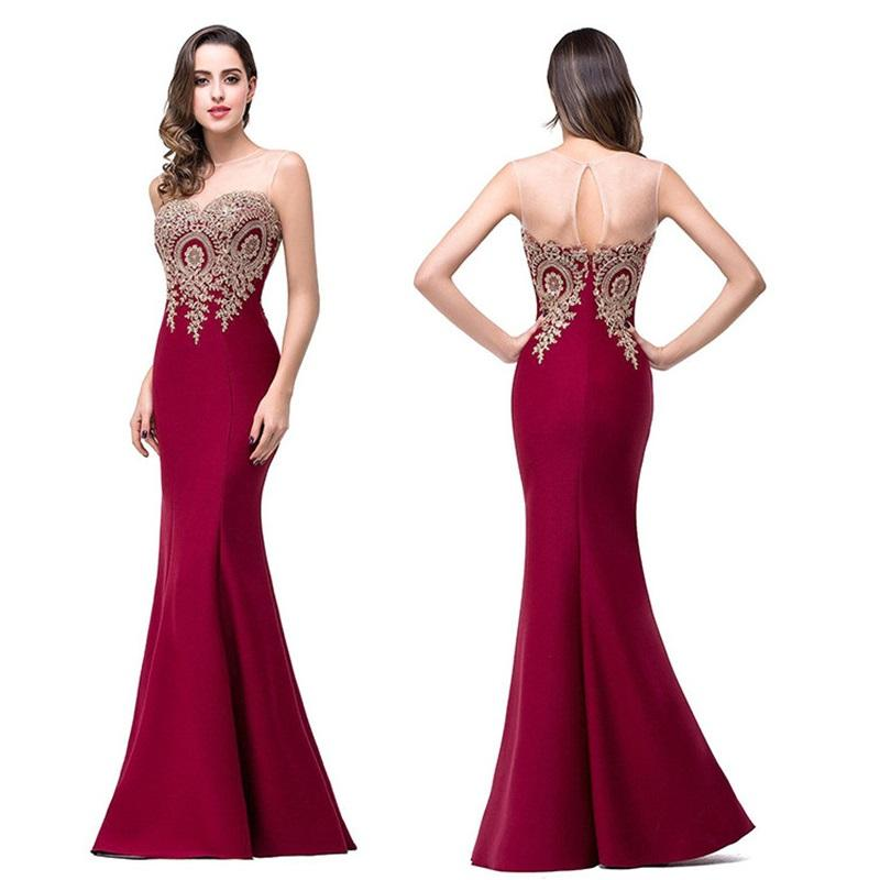 0658ba743d7 2019 Sexy Backless Appliques Burgundy Mermaid Lace Long Dresses 2018 Royal  Blue Black Evening Party Dress Vestido De Festa Longo From Chencloth66