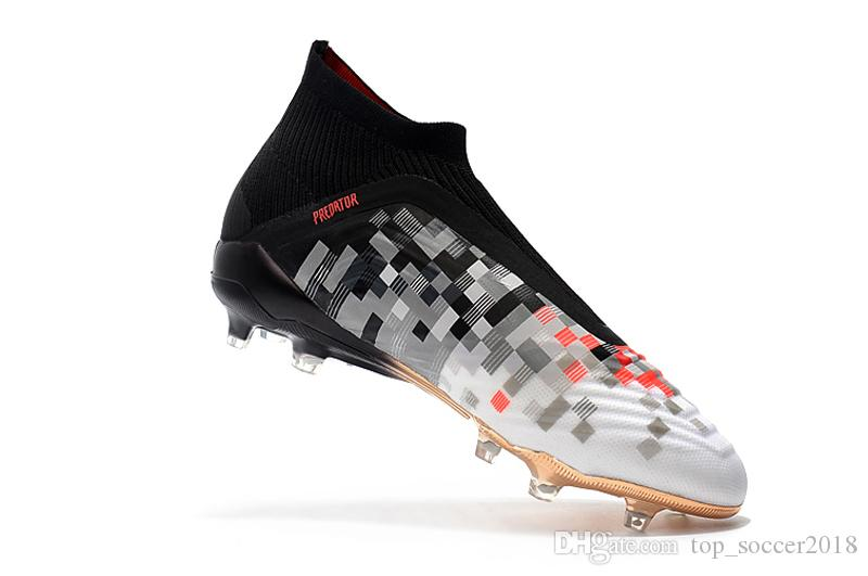 2019 100% Original White Red Black Messi Slip Up Unisex Soccer Cleats  Predator 18+ FG Kids Soccer Shoes Pogba Outdoor Boy Girls Football Boots  From ... ac11ac4f6