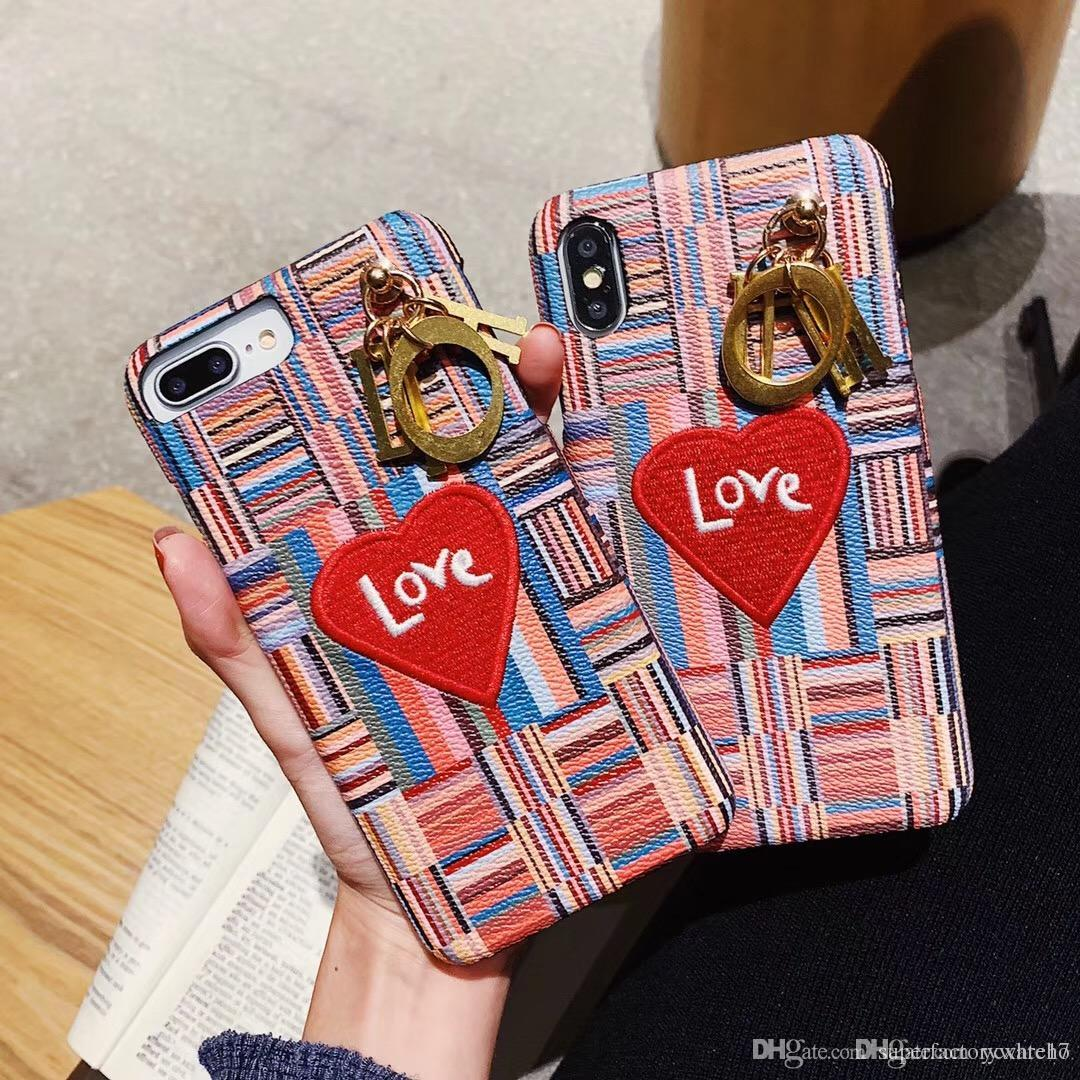1PCS For iphone case Xsmax Mobile Shell Classic Luxury Embroidered heart  Women Wristband Leather Case for iphone 6 7 8 X XS Phone Case 37395820b