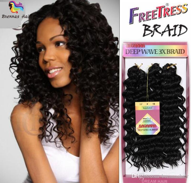 Hot Selling Short 10inch hairstyles 3x savana deep wave jerry curly twist hair for braiding twist synthetic freetree hair extension braids