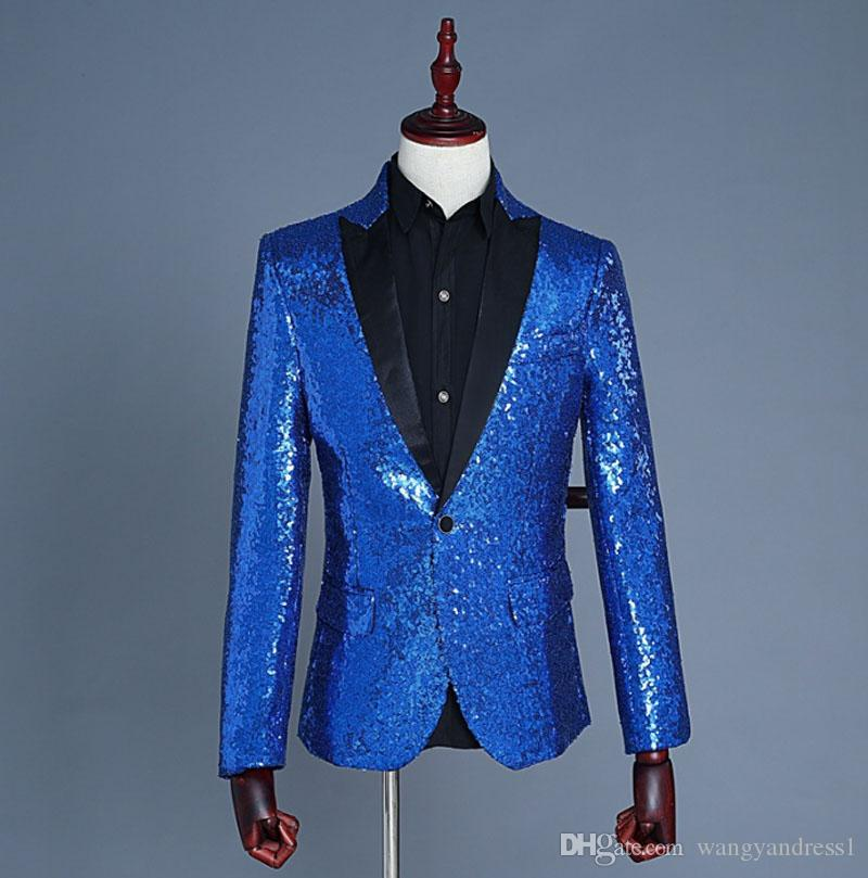 2018 Fashion Custom made Handsome Performance suits Sequin party wears show costume Double Breasted Prom Suits