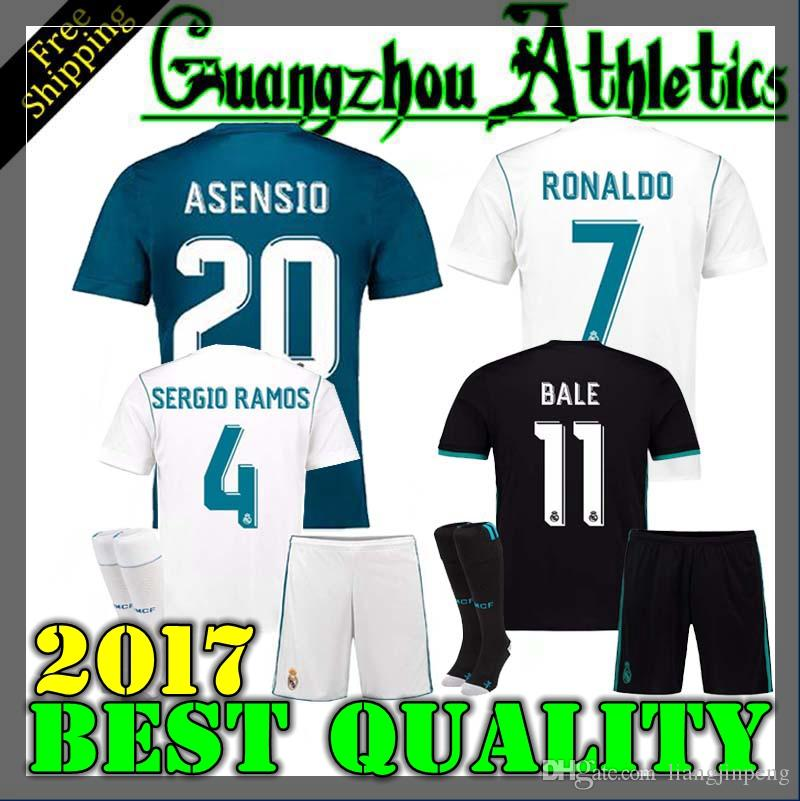 2018 17 18 Real Madrid Kids Adult Home Away Soccer Jersey Kits Youth Boys  Child Jerseys Kits 2017 2018 Ronaldo Bale Isco Modric Football Shirts From  ...