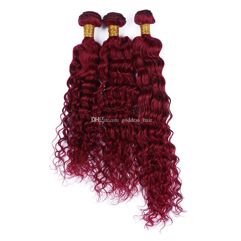 Nuovo prodotto Bright Red Color Color Human Capelli Teaves Estensione Capelli vergini brasiliani Onda profonda Borgogna capelli rossi 3bundles donna