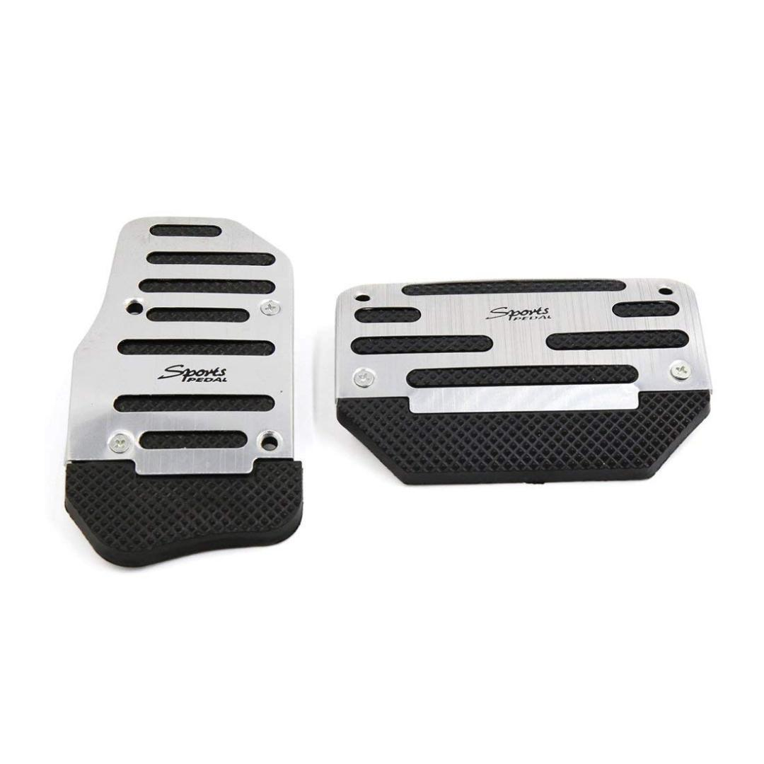 uxcell a16112100ux0548 2 in 1 Metal Non-Slip Auto Car Gas Brake Pedal Cover Set Black Silver Tone