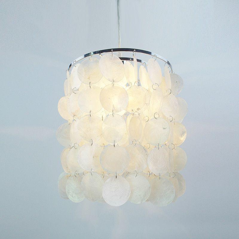 diy modern white natural seashell pendant lamps e14 led shell