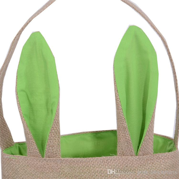 Easter Candy Bags Bunny Ear Jute Handbags for Easter Egg Hunts Eco Friend Burlap Hand Carrying Bags for Gifts Giveaways
