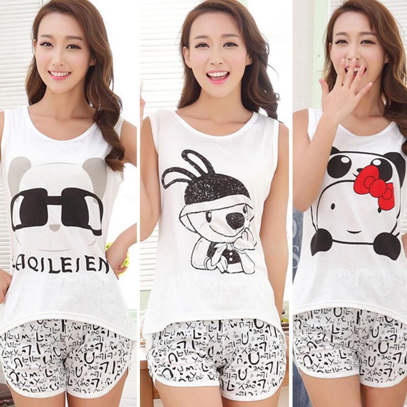 2ff9e306db23 2019 2018 Summer Women Cute Cartoon Pyjamas Set Sleeveless Cotton Girl  Pajamas Home Suit Sleepwear Female Pajamas Set T Shirt+Short From Maoku