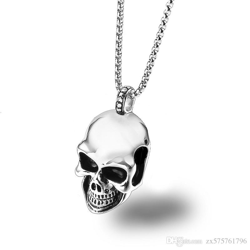 Wholesale fashion men stainless steel chain skeleton pendant wholesale fashion men stainless steel chain skeleton pendant necklace design jewellery punk hip hop jewelry friends gifts for men circle pendant necklace aloadofball Gallery