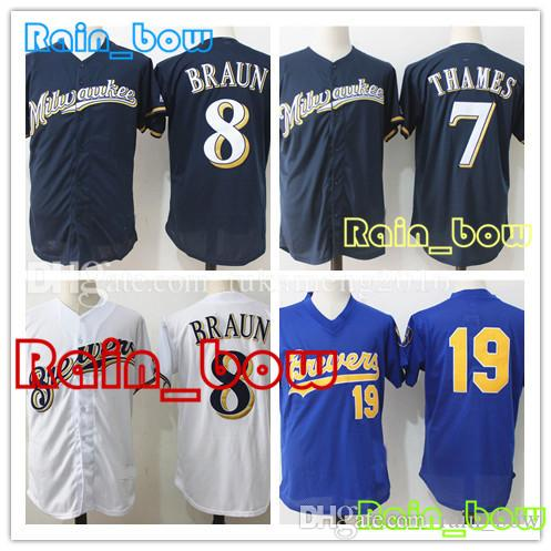 636dc601b 2018 Baseball Jerseys Milwaukee Brewers Jerseys 19 Robin Yount Jersey 8  Ryan Braun Jerseys 7 Eric Thames Jersey High Quality Yount Jersey Braun  Jersey ...