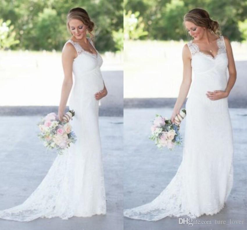 Neue elegante Spitze Mutterschaft Brautkleider Günstige Romantische V-Ausschnitt Empire-Taille Brautkleider 2018 neue schwangere Frauen Plus Size Brautkleider