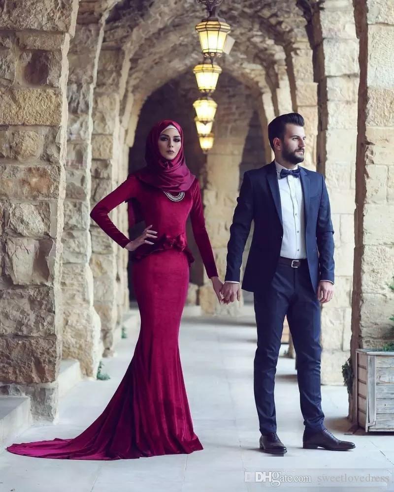 Burgundy Muslim Mermaid Prom Dresses Long Evening Gowns Hijab Long