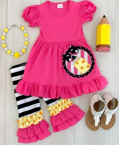 8ec916ef4 2019 Back To School Outfit Girls Clothes Hot Pink Pencil Kids Clothing  Stripes Capri Cotton Set Baby Match Accessories Necklace & Bow From  Sophine14, ...