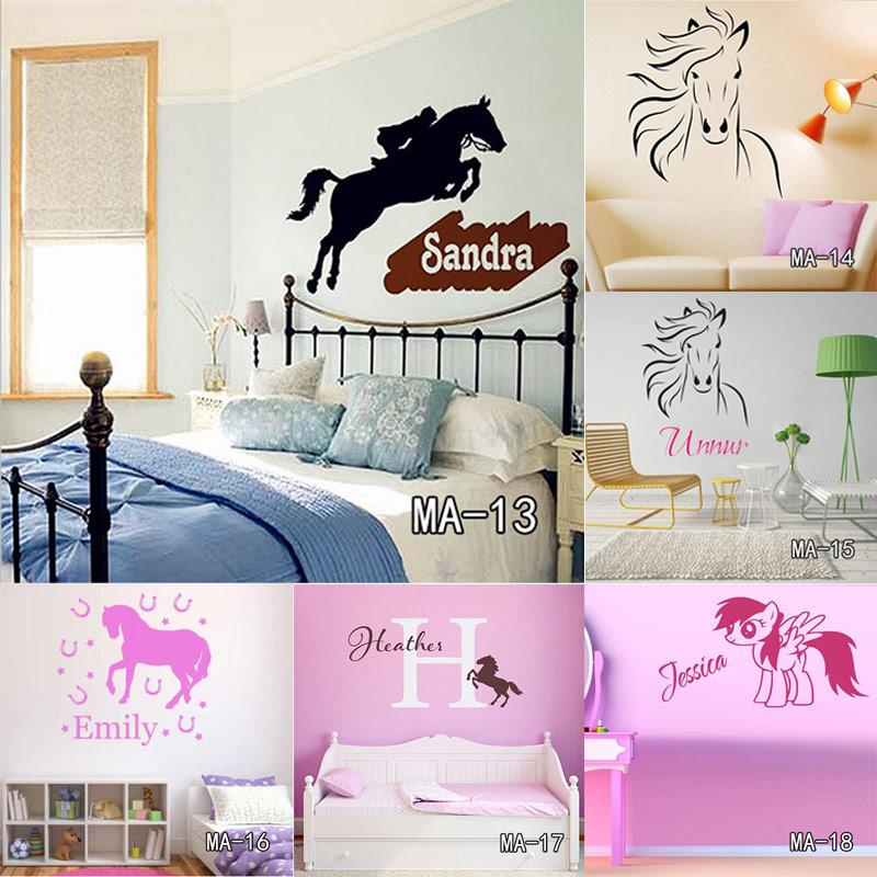 Custom Diy Personalized Name Jumping Horse Wall Sticker Riding ...