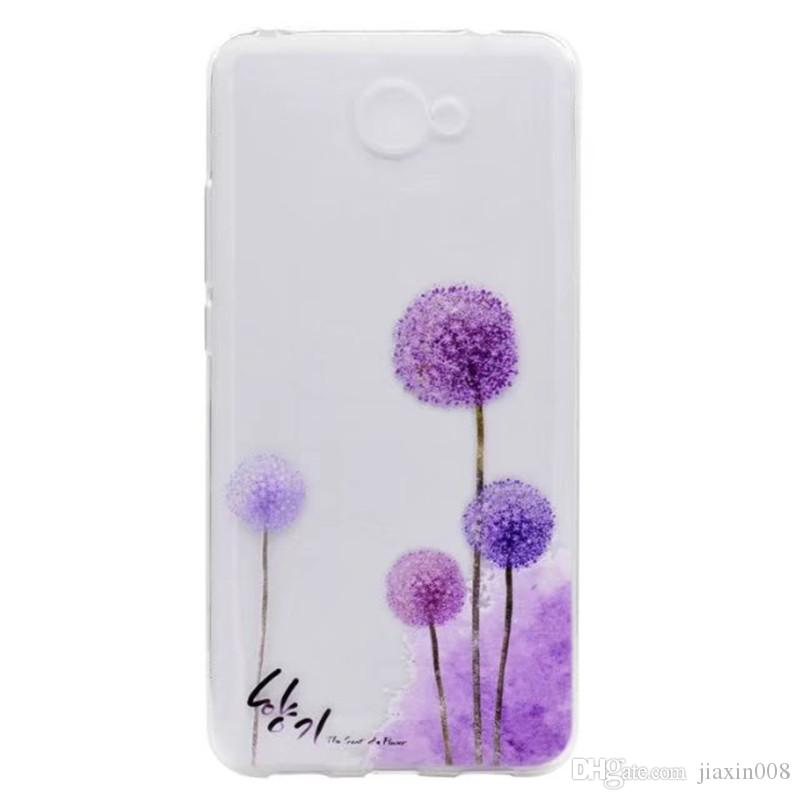 LUOSHUYAN Transparent TPU Cover For Huawei Y7 2017 Case Colour decoration Tower bike Butterfly Girl Design Phone Cases
