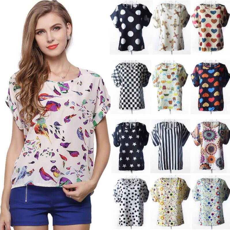 2018 Women Chiffon Shirt Blouse Bird Wave Stripe Print Casual T Shirts  Short Sleeve Tee Tops Eea428 From Best bikini,  4.11   Dhgate.Com 8b655dd4bad8
