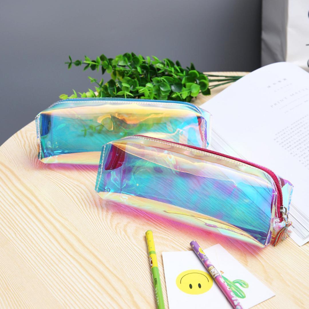 0829b37f8a3e Fashion Hologram Laser Cosmetic Bags Women Tassel Makeup Organizers  Transparent Pencil Case Kid Pen Bag Long Stationary Case
