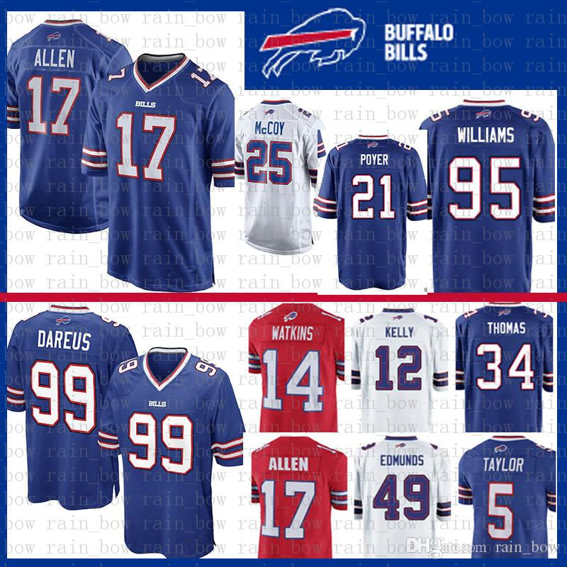 2019 Stitched Buffalo Jersey Bills 17 Josh Allen 49 Tremaine Edmunds 12 Jim  Kelly 95 Kyle Williams 21 Poyer LeSean McCoy 25 ThomasThomas Dareus From ... 1c4d9958d