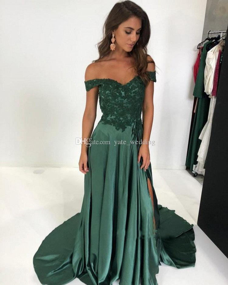 Off The Shoulder Long Prom Dresses Appliques Lace Satin Split Side Aline Floor Length Backless Evening Dresses Dark Green Party Gowns