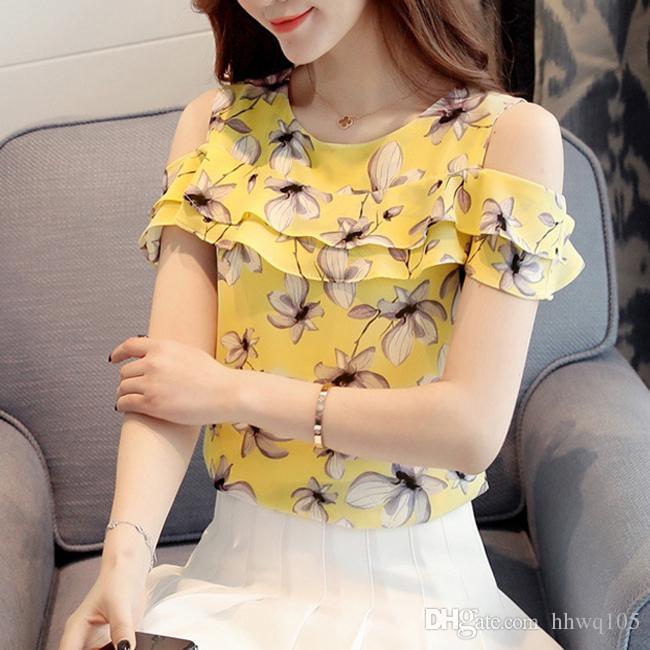 1055c960d9a0e6 2019 2018 Summer Floral Print Chiffon Blouse Shirt Cold Shoulder Ruffles  Casual Tee Women Summer Beach Camisole Top Yellow Pink S 2XL JCG1109 From  Hhwq105, ...