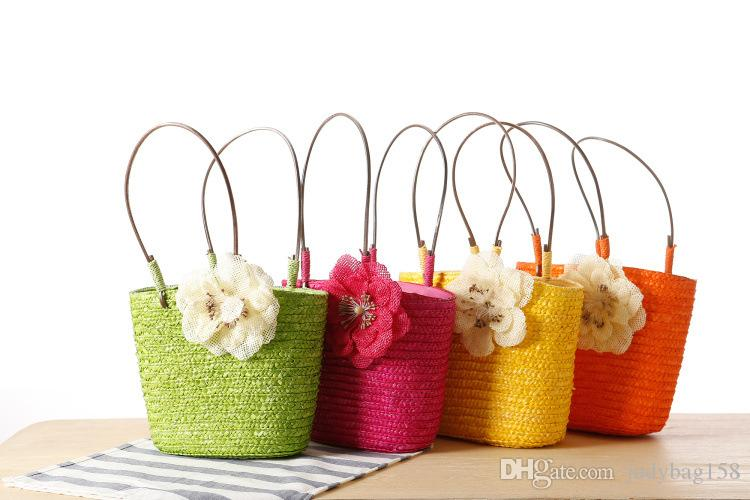 New exquisite small twist grass bag fashion small hand bag candy color woven beach bag