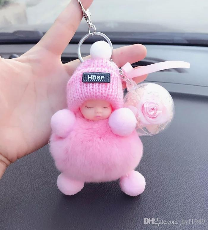 Cute Baby Doll Stuffed Car Key Chain, Korean Girl Gift, Key Chain, Bag Diy Hang Beautiful