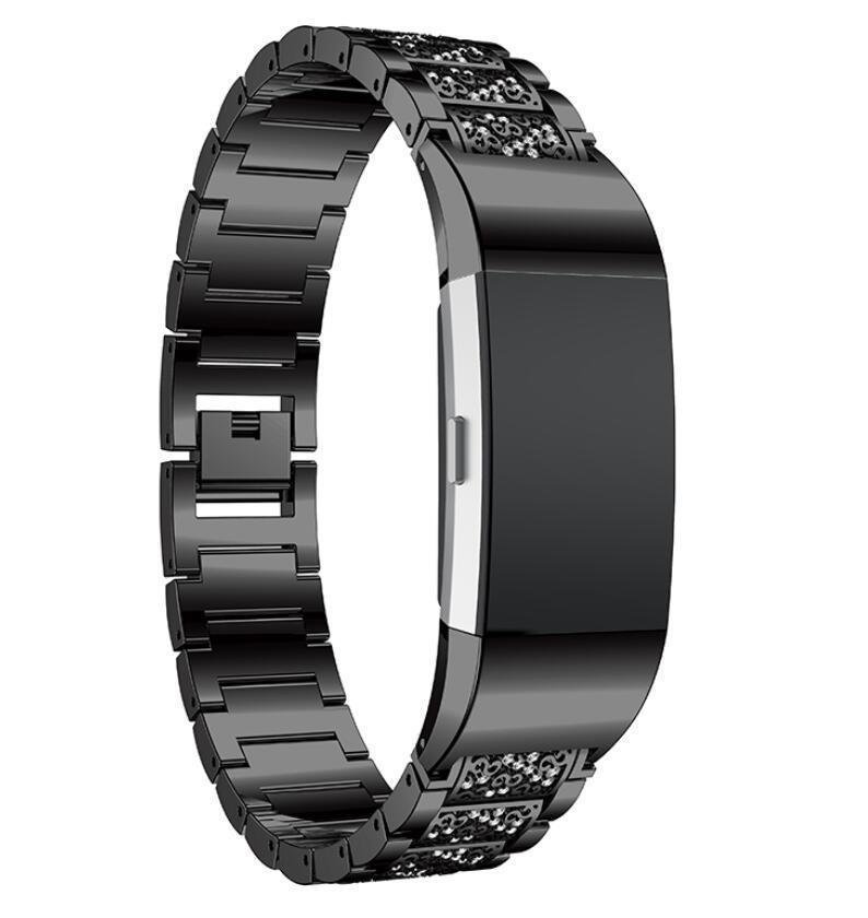 Fitbit charge2 için kordonlu Saat Paslanmaz Çelik Kristal Rhinestone Elmas Watch Band Lüks Bilezik Kayış Izle Aksesuarları Bantları