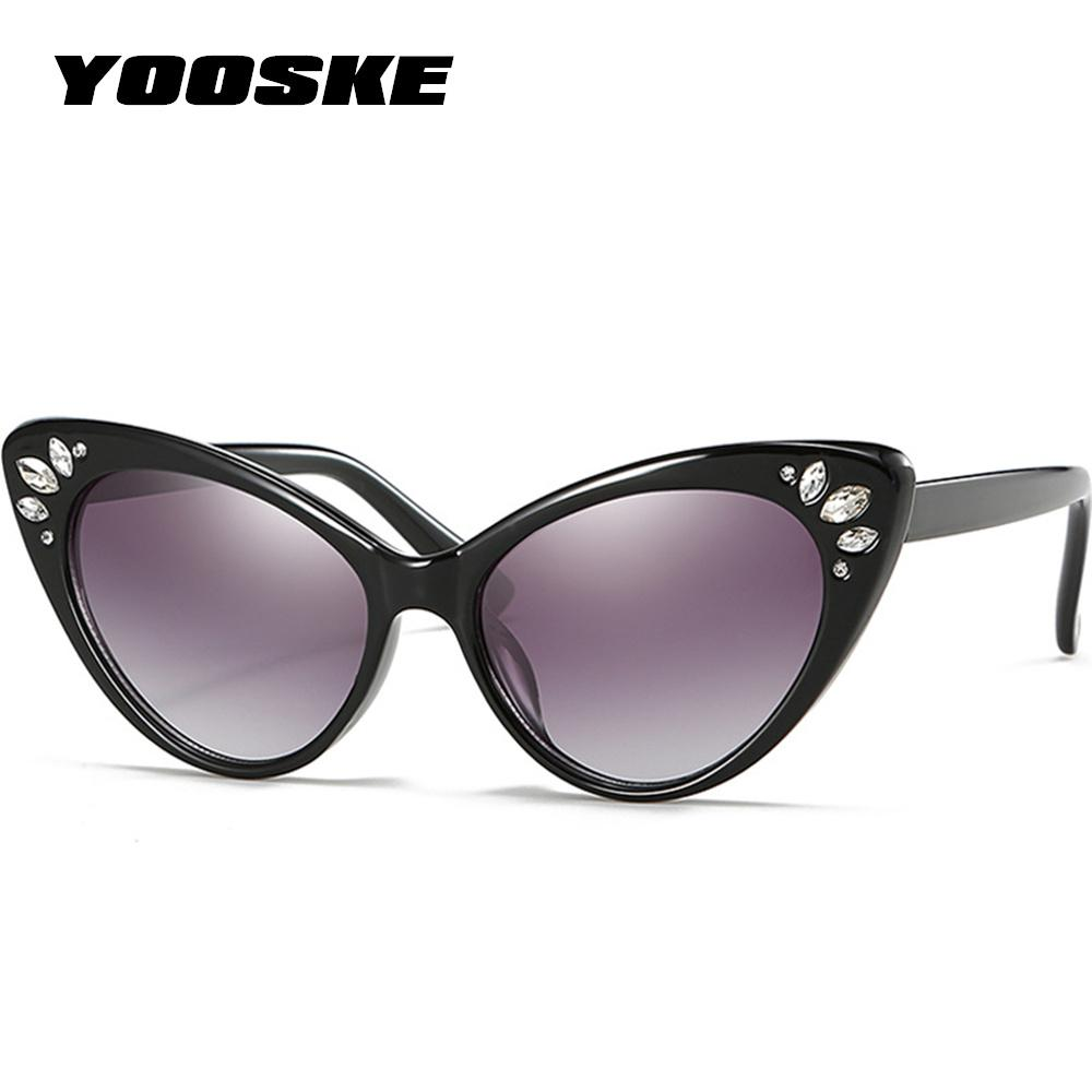 7131034a44 YOOSKE Luxury Cat Eye Sunglasses Women 2018 Rhinestone Sunglasses Female  Sexy Crystal Vintage Cateyes Sunglass Shades UV400 Cheap Designer Sunglasses  ...