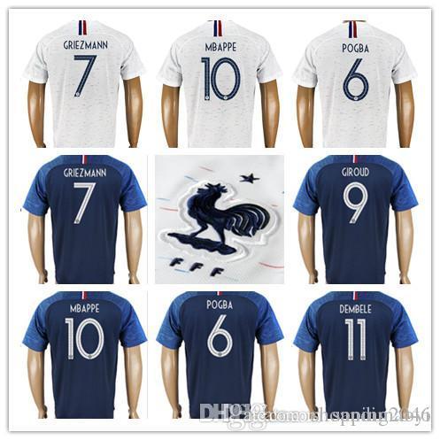 Men s 7 GRIEZMANN 10 MBAPPE 6 POGBA Soccer Jersey 13 KANTE 11 ... 4c3264b7b