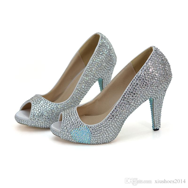 57f5f597d0d6e0 2018 Fairy Tale Evening Dress Heels Fashion Show Pumps Silver Rhienstone  With Baby Blue Wedding Shoes Peep Toe Bride Shoes Jeweled Bridal Shoes  Ladies ...