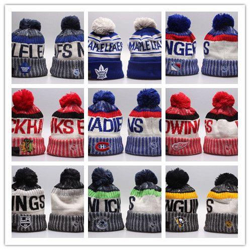 2870d898bbc Cheap Winter Beanie Hats for Men Knitted NHL Wool Hat Gorro Bonnet with San  Jose Sharks Beanie Boston Bruins Pittsburgh Penguins Winter Warm Cap