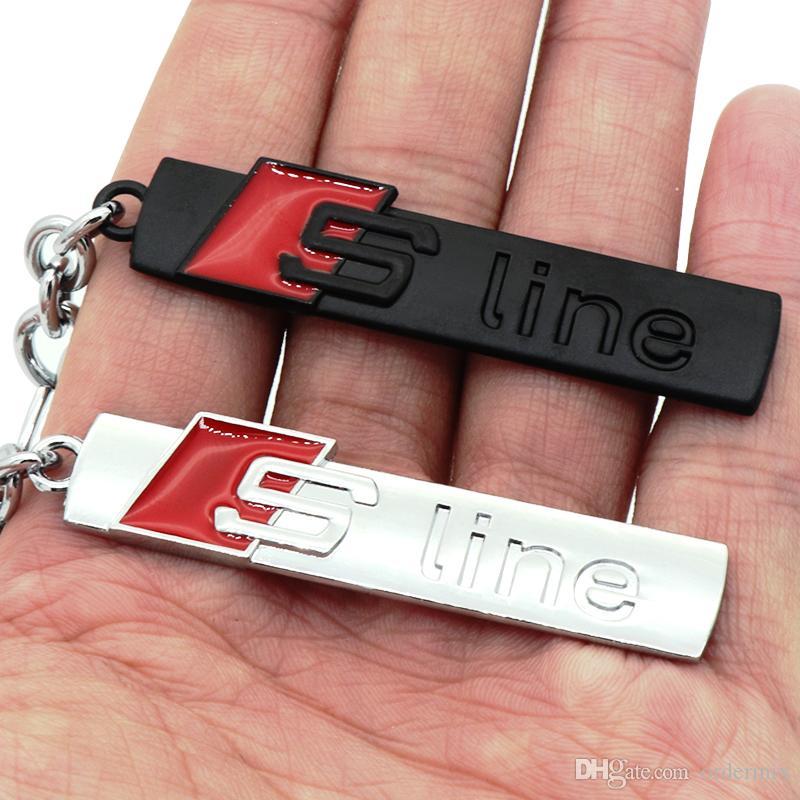 Moda S line Metal Llavero de coche Llaveros Anillos Fob Se adapta a Audi Sline Logo Llavero A3 A4 A6 A7 A8 TT RS Q5 Q7 Car Styling