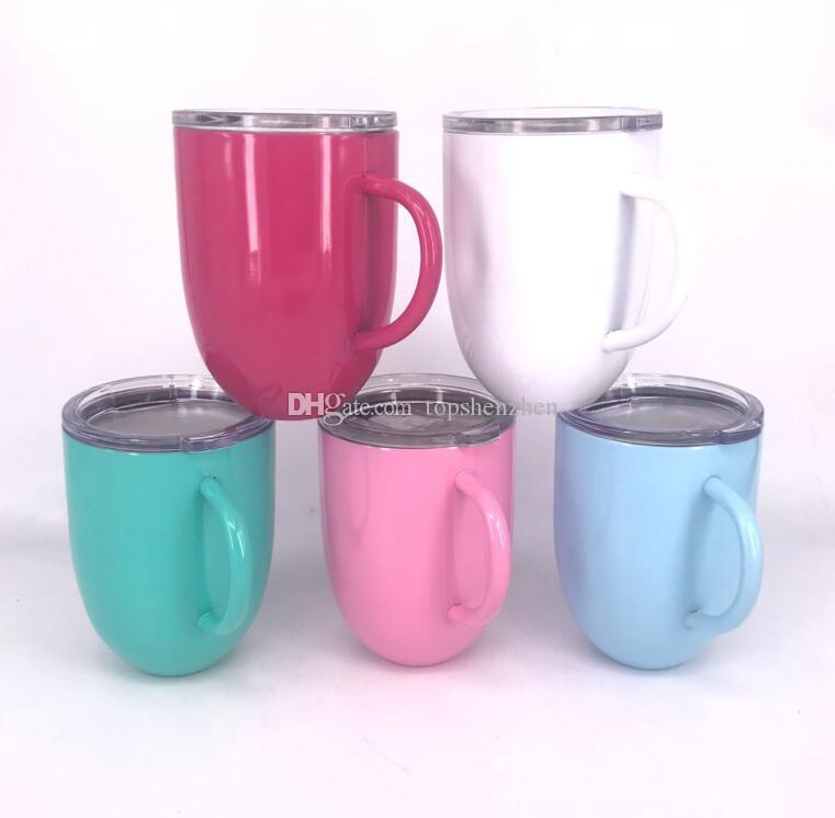 3bffdf93cf2 10oz Wine Glass Cups With Handle & Clear Lids Stainless Steel Double Wall  Vacuum Insulated mugs Beer Mugs Coffee Handles Cups