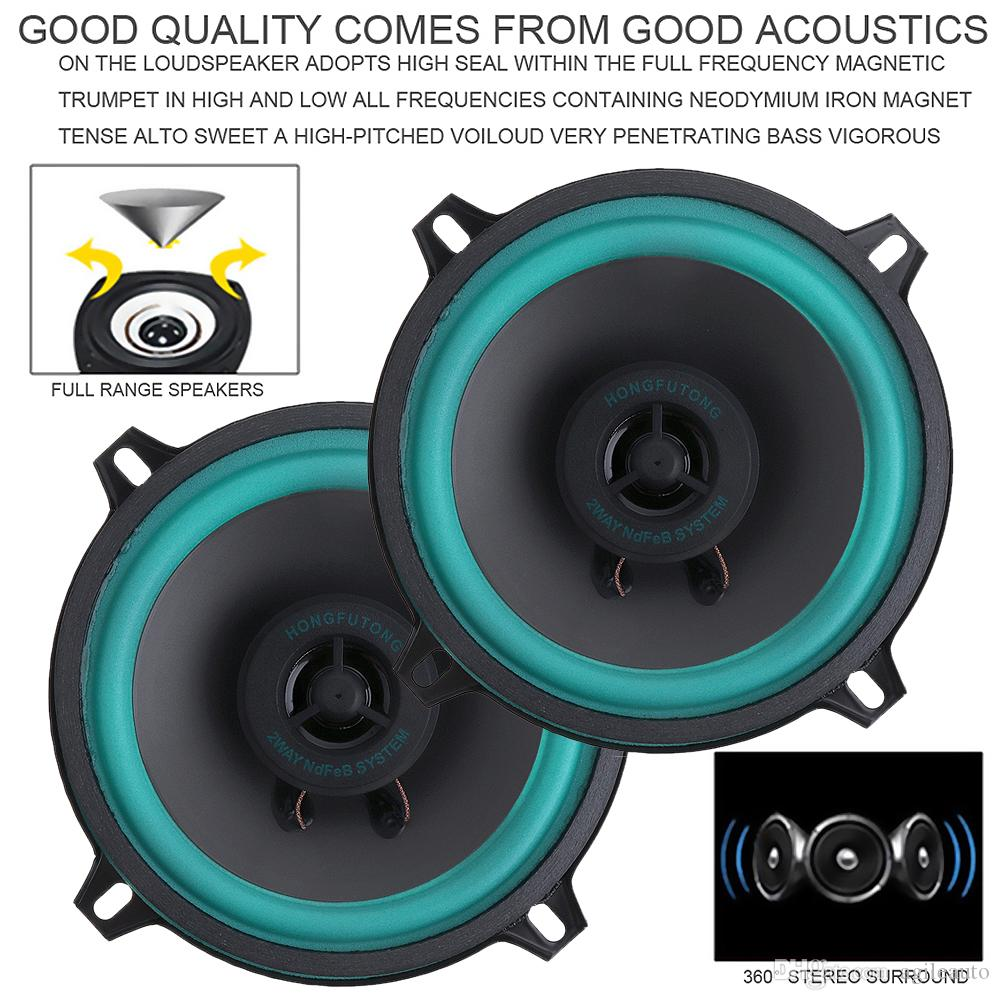 A Set 5 Inch 60W Car Coaxial Speaker Vehicle Door Auto Audio Music Stereo Full Range Frequency Speakers with Gasket and Horn Cover for Cars
