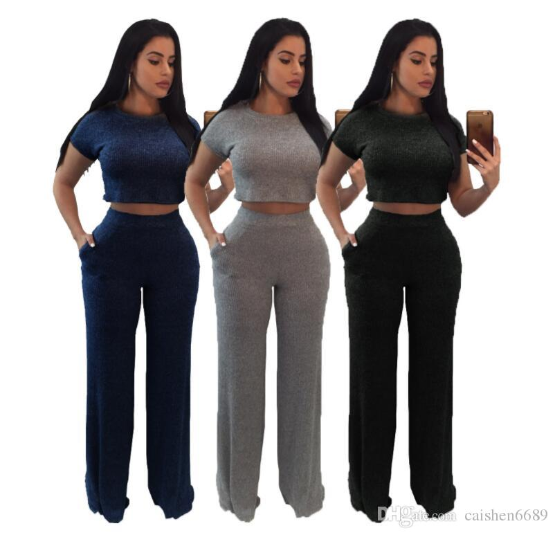 97817b9b1170 2019 Two Piece Set Short Crop Top T Shirt And Long Pants Women Casual Set  Thread Bodycon Jumpsuit 2018 O Neck Short Sleeve Suit From Caishen6689