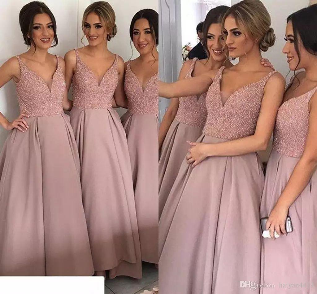 b32312e1e13 Compre 2019 Vestidos De Dama De Honor V Cuello Ilusión Cristal Abalorios  Alta Baja Satén Para Vestidos De Fiesta De Boda Vestido De Dama De Talla  Grande A ...