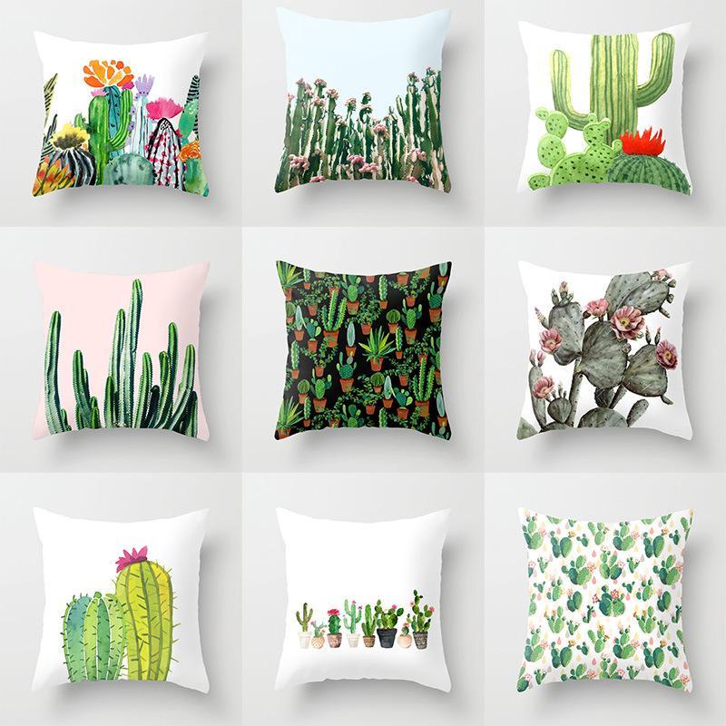 Compre Planta Tropical Patrón De Cactus Lino Funda De Almohada Sofá ...