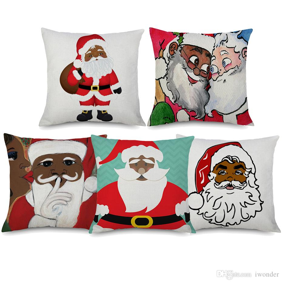 African American Santa Clause Cushion Covers 7 Styles Merry Christmas Festival Beige Linen Pillow Case Bedroom Sofa Decoration