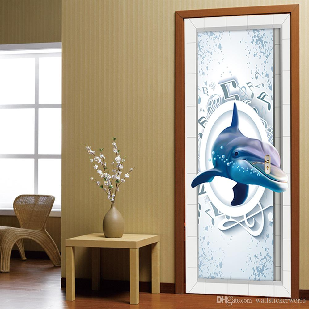 3D Music Dolphin Wall Sticker Mural Quotes Bedroom Self-adhesive Door Refurbished Stickers Home Decor