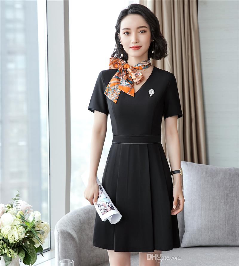 2019 Womens Elegant Vintage V Neck Short Sleeve Formal Wear To Work Office  Casual Party Flare A Line Skater Dress From Donnatang240965 1171d8f08993