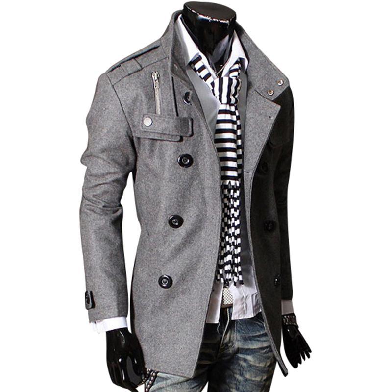 f405a5d57 Compre Moda Outono Inverno Homem Trench Coat Magro Trespassado Casaco De Lã  Outerwear Homens Jaqueta Casuais Homens Casaco Asiático   Tamanho M 3XL ...
